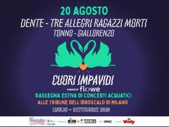 Dente in concerto con Tre Allegri Ragazzi Morti, Tonno e Giallorenzo all'Idroscalo Milano