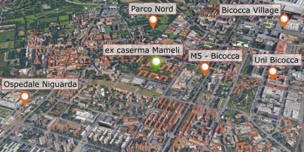 "Punti di interesse vicini alla ex caserma Mameli - quartiere ""Niguarda - Ca' Granda"""