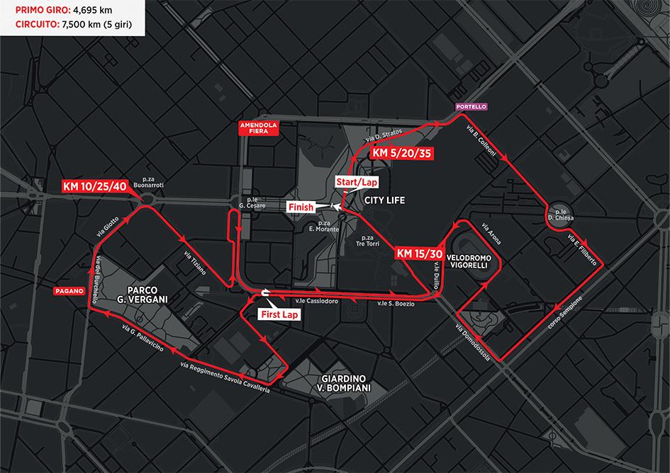 Mappa Milano Marathon 2021