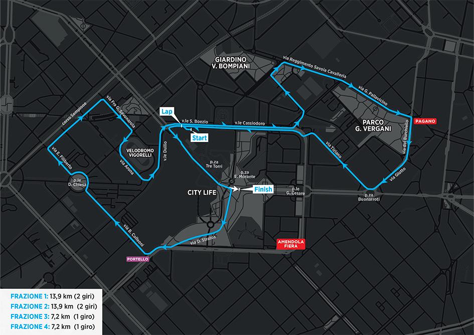 Mappa - Staffetta Milano Marathon 2021 (Relay marathon)