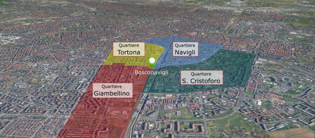 Posizione Bosconavigli Milano su mappa con quartieri